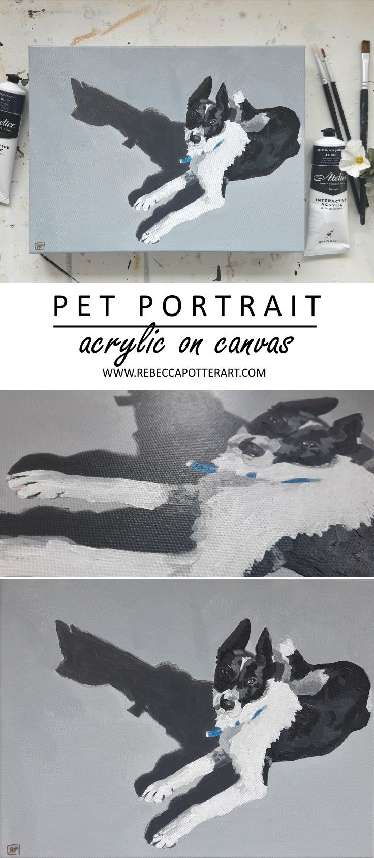 Buy Original Art. Pet Portrait of a sweet farm dog named Chelsea. Acrylic on 12 x 9 Canvas Painting by Rebecca Potter ART. Sept 2017