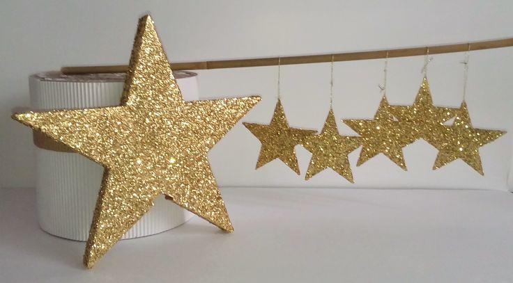 Décoration de Noël : étoiles pailletées à suspendre : Accessoires de maison par bricoles-en-carton