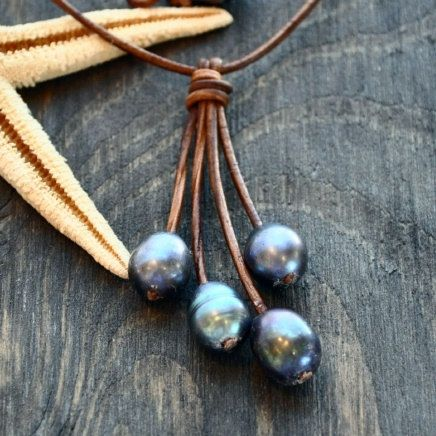 Leather and Pearl Necklace Tassel by nicholaslandon on Etsy
