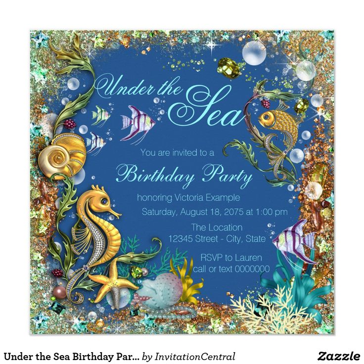 Under the Sea Birthday Party Card Under the sea birthday party invitation with beautiful gold fish and seahorse, seashells and pearls on a royal blue and gold glitter background. This beautiful under the sea birthday party invitation is easily customized for your event by simply adding your details in the font style and color and wording of your choice. This is a printed design with no real jewels, glitter, etc. You can also change the background color.