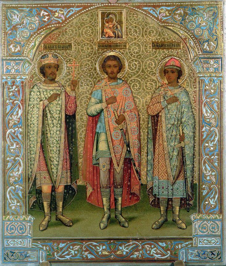 Св.Благоверный князь Андрей, Св.Блаженный Георгий, Св.Благов. князь Глеб  в молении Владимирской иконе Пр.Б.М.