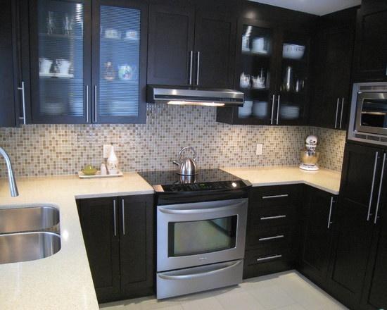 Contemporary Kitchen Espresso Cabinets Design