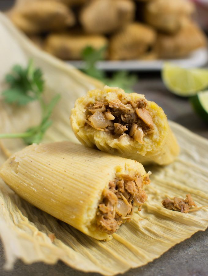 Jackfruit Vegan Tamale Cut In Half On A Corn Husk