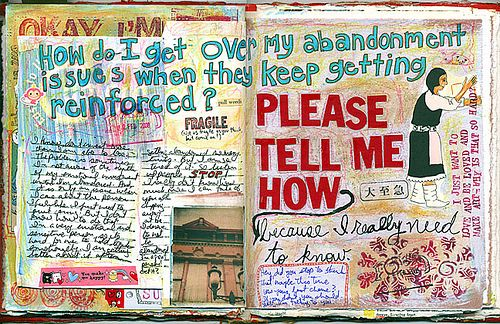 """KENT tut02 .Firstly, this journal so colourful and eye-catching theme. The author want to ask people something to help him. The words """"Please tell me now"""" really impressived with red colour and bold size. However, I do not think the images are suitable for the meaning. The babysitter does not help the journal explain about the question much, it could be the old man or the people who often question somebody. Overall, I like this page because its inspiring."""
