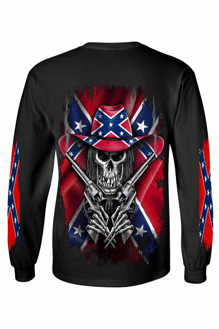 Men's Long Sleeve Shirt Confederate Rebel Flag Cowboy Skeleton - SHORETRENDZ