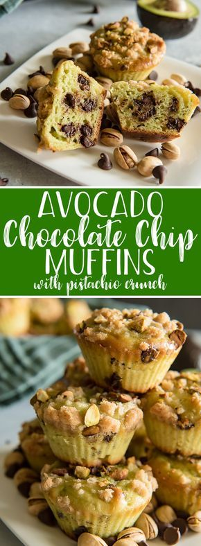 These moist Avocado Chocolate Chip Muffins with Pistachio Crunch are a delicious, healthier addition to any morning! Replacing the butter with avocado reduces calories, fat, and cholesterol in each bite, and the pistachios give them a lovely crunch that will make you look forward to breakfast again! #avocado #chocolatechip #pistachio #muffin #recipe #healthy #breakfast