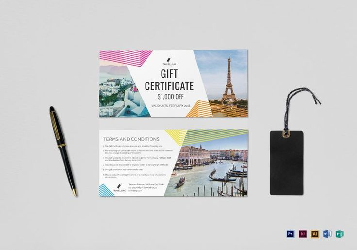 Travel Gift Certificate Template  $12  Formats Included : Illustrator, MS Word, Photoshop, InDesign, Publisher  File Size : 9x4 Inchs #Certificates #Certificatedesigns #Giftcertificates
