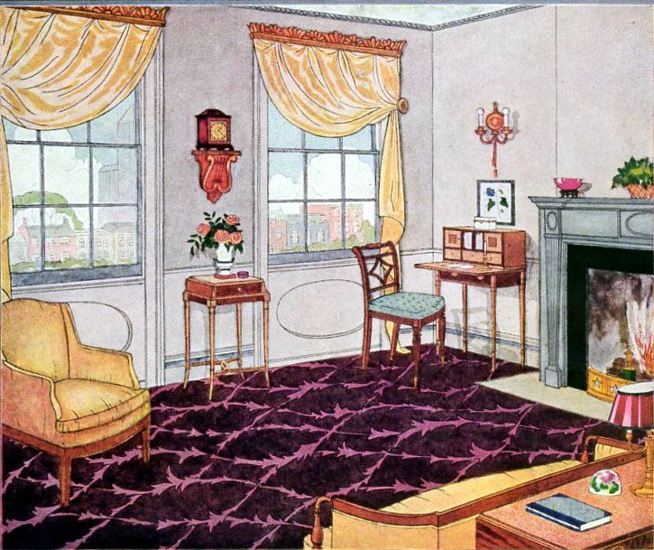 Plum Colored Floor Carpeting From 1929 Vintage Home