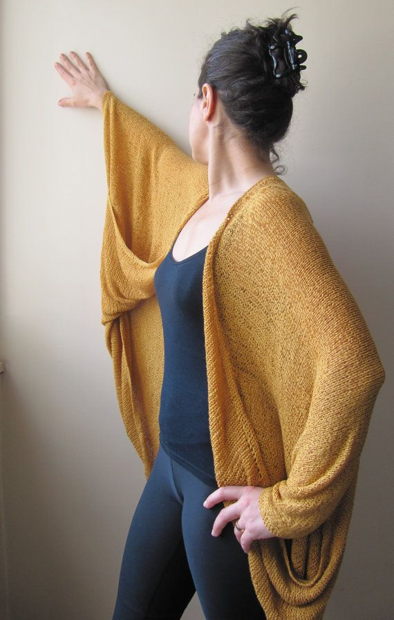 Mustard yellow capelet for women/Creative knit by SEVILSBAZAAR, $165.00