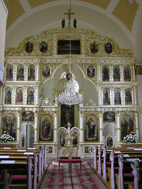 Iconostasis and interior of the Church of Sts. Peter and Paul in Bardejov, Eastern Slovakia