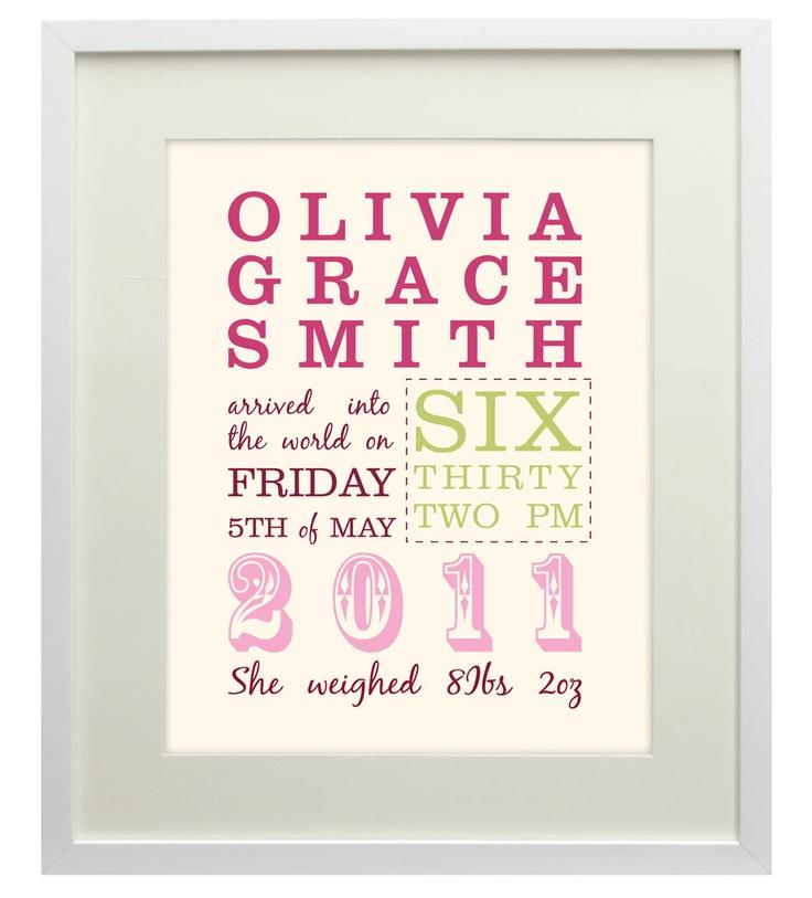 New Baby Personalised Print - Ideal Gift or Keepsake. $27.00, via Etsy.