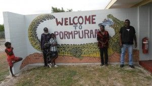 Welcome to Pormpuraaw in the Cape York Peninsular. Airport Mural painted by the Pormpuraaw artists.