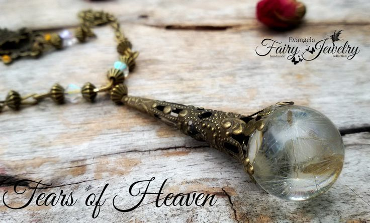 Collana lacrime paradiso semi dandelion resina bronzo gioielli botanici stelle, by Evangela Fairy Jewelry, 18,00 € su misshobby.com