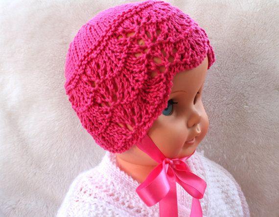 Baby Girl HatPink Baby HatSoft Baby HatCotton by Pinknitting