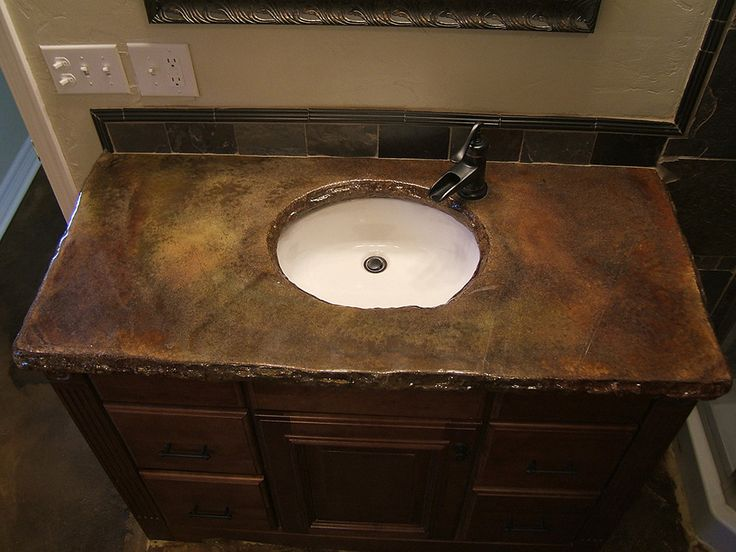 Outstanding Concrete Bathroom Countertops Design Ideas With Brown Stone Top And Modern Small Washbowl Feat Black