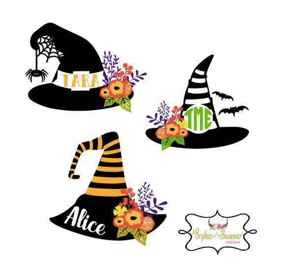Halloween Monogram Decal | Witch Hat Sticker | Fall Florals | Halloween decor | Spooky | Bats | Vinyl by SophieBreannaDesigns on Etsy