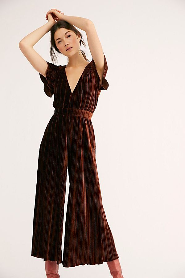 fb37974ee25 Lex Velvet Jumpsuit - Copper Velvet V-Neck Jumpsuit with Open Tie Back -  Brown Velvet Jumpsuits - Velvet Jumpsuits - Holiday Outfits