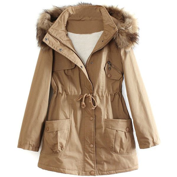 Khaki Pocket Detail Detachable Faux Fur Hood Parka Coat (€91) ❤ liked on Polyvore featuring outerwear, coats, khaki parka, brown parka, brown coat, faux coat and parka coat