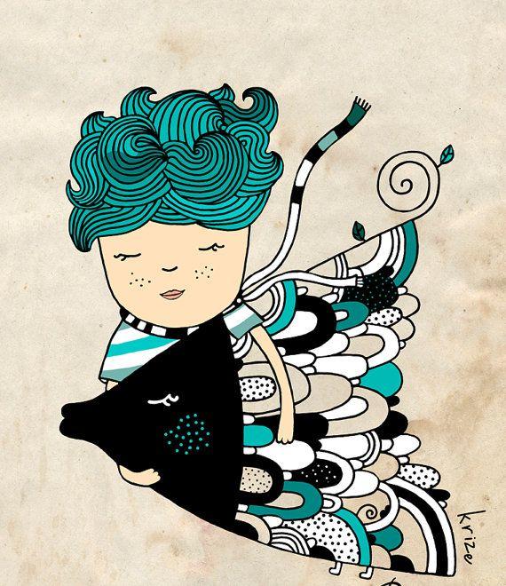 Zodiacale Pesci stampare Boy e pesce arte camera di di krize