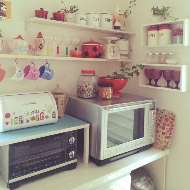キッチン収納/DIY/雑貨/スイマー/食器棚を半分に。/Kitchen…などのインテリア実例 - 2014-06-01 22:06:08   RoomClip(ルームクリップ)