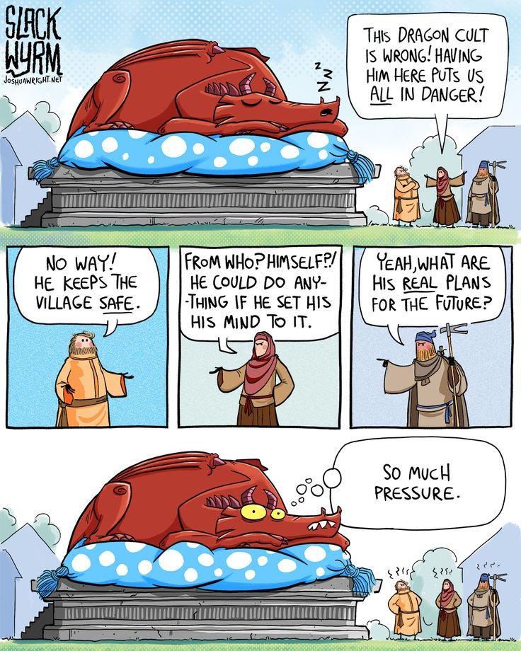 Jeeez, peasants, get off my back already! #dragon #comic #webcomic