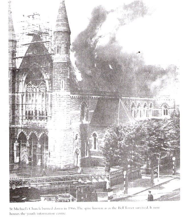 St Michaels Church blazing on 28th July, 1965