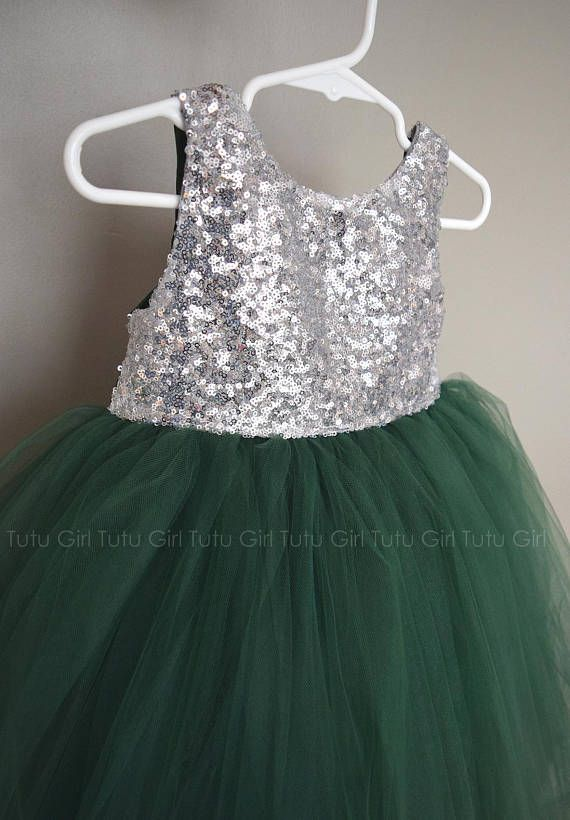 9038c6768 Such a striking tulle dress! Silver Sequins and Emerald Green Tulle ...