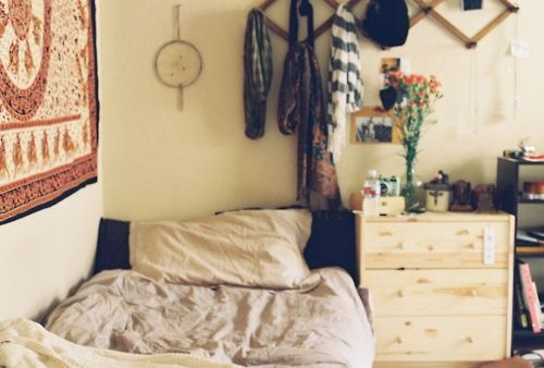 indie hipster bedroom idea. dream catcher and comfy bed. Orginized mess
