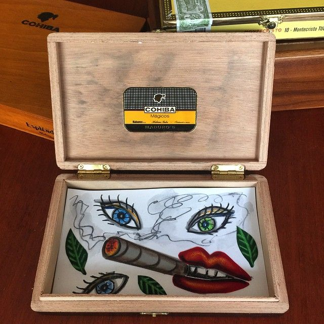 My friend the famous artist Timo Solin recycles my cigar boxes...  #cigar  #cohiba  #montecristo  #dunhill  #tubos  #davidoff  #jdphotography  #jd_photography  #pinupstudios  #art  #artist  #timosolin  #timosolinart