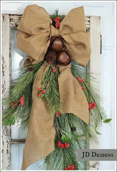Christmas wreath alternative - I like the burlap and bells. Great idea for our back door.