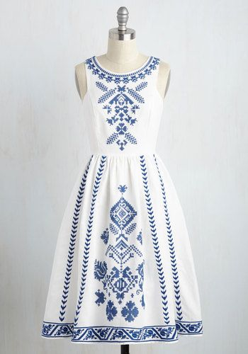 Cross-Stitch My Heart Dress - White, Blue, Solid, Embroidery, Casual, Sundress, Fit & Flare, Sleeveless, Summer, Woven, Best, Long (affiliate)