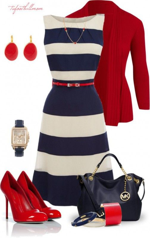 Striped dress and red jacket