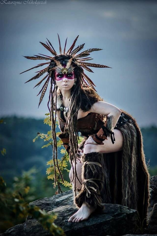 Feather Warrior Costume Headdress, Burning Man Costume, Shaman Headdress Warrior Costume, Barbarian Costume, Savage Headdress by PrimalForged on Etsy https://www.etsy.com/listing/252643751/feather-warrior-costume-headdress