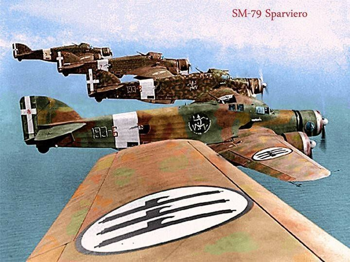 Italian Savoia Marchetti SM 79 Sparviero bombers