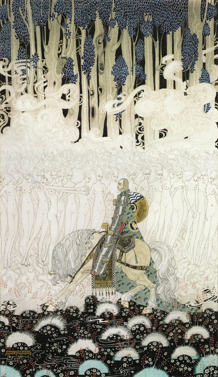 Sir Olaf in a kingdom of wraiths and ghosts. Kay Nielsen (1896-1957) watercolor for In Powder and Crinoline, 1913.