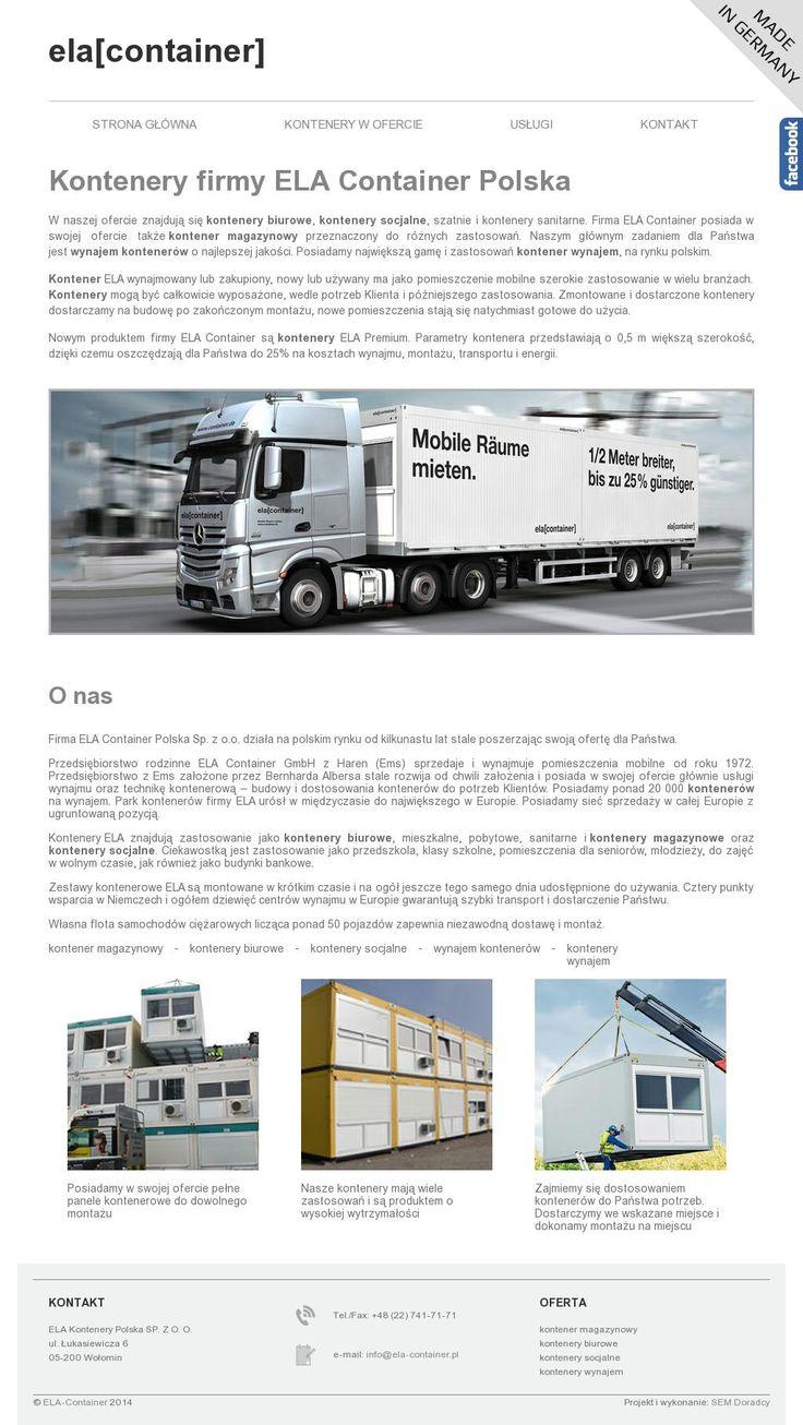"""Firma ELA Container Polska realizuje zlecenia na polskim rynku od kilkunastu lat w sposób ciągły poszerzając swoją ofertę. W naszej ofercie znajdują się <a href=""""https://kontenerywynajem.pl/"""">kontenery biurowe</a>, szatnie, kontenery socjalne i kontenery sanitarne. Przedsiębiorstwo ELA Container posiada w swojej ofercie także kontener magazynowy wyposażony do różnych zastosowań. Naszym głównym celem jest wynajem dla Państwa kontenerów o wyjątkowej jakości."""