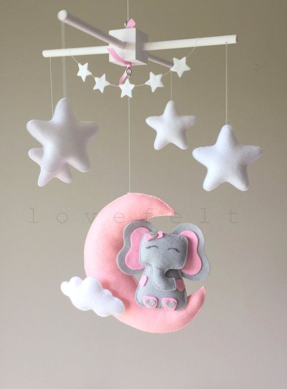 Baby mobile moon mobile moon stars mobile pink and white