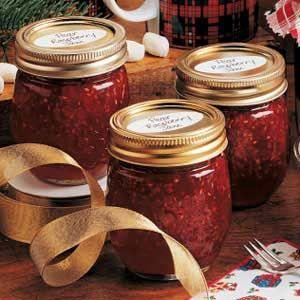 Pear Raspberry Jam Recipe - Taste of Home Made this tonight with blackberries instead of raspberries.  It is wonderful!