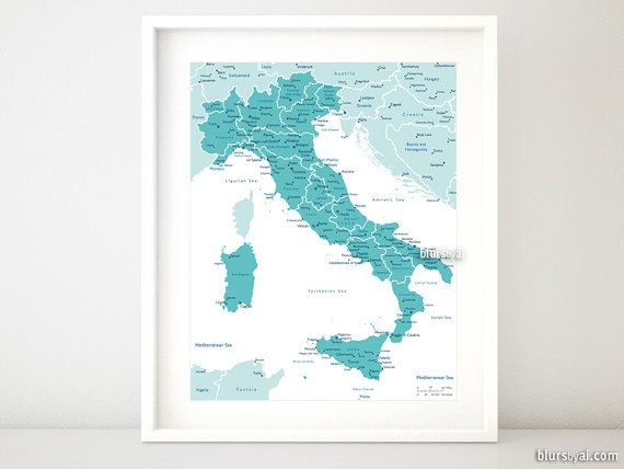 16x20 Printable map of Italy Italy map with by blursbyaiShop