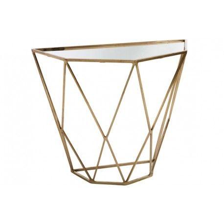 console demi lune géométrique métal/miroir or 90x45x76cm J-Line by Jolipa en vente à 552,00 € seulement chez Auxportesdeladeco