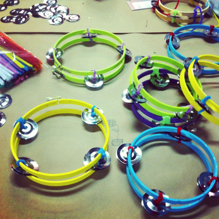 Handmade tambourines from painted embroidery hoops and ...