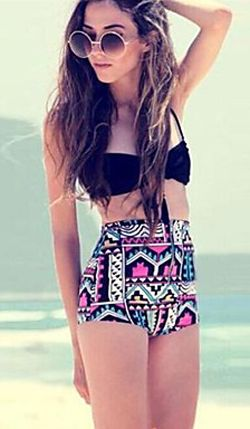 High Waist Geometric Pattern Bikini Set