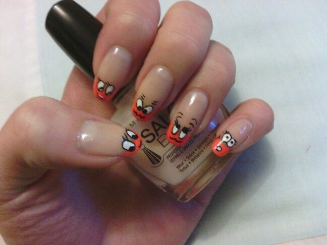 Free hand french tip with faces!! :)