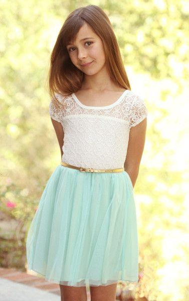 Bunnies Picnic - Truly Me Crochet Lace and Sea Green Tulle Dress - Boutique Clothing for Girls and Boys