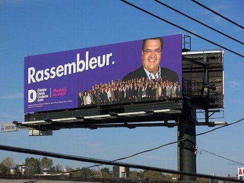 """DENIS CODERRE Le candidat à la mairie de Montréal, Denis Coderre, a changé son idée et finalement il a des affiches extérieures... Ce sont de """"grosses"""" affiches, même très grosses car il a choisi des affiches géantes louées par Astral le long des autoroutes notamment non loin de la sortie du Pont Mercier dans un Parc industriel..."""
