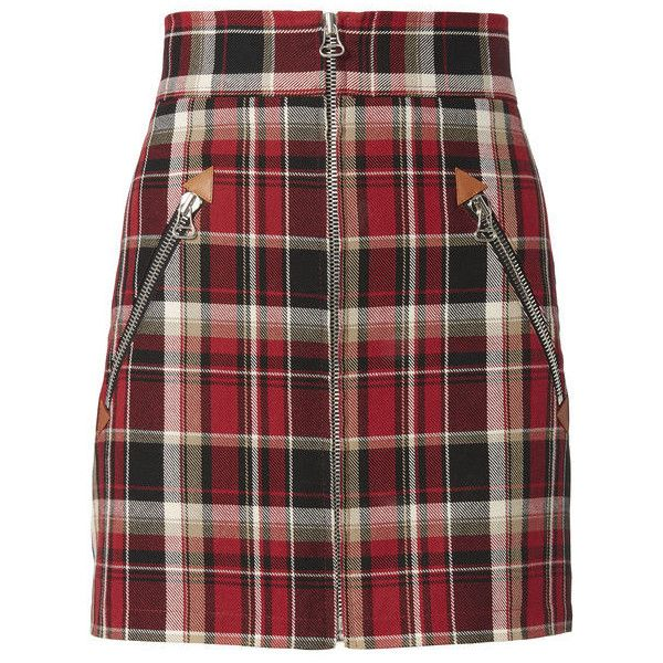 Rag & Bone Leah Plaid Mini Skirt  00 (€335) ❤ liked on Polyvore featuring skirts, mini skirts, bottoms, red, tartan miniskirts, short mini skirts, red plaid skirt, red tartan skirts and cotton mini skirts