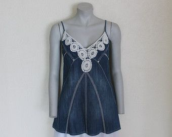 Blue Denim Top Summer Top Embroidered Lace Trim Jean Top Bustier Spaghetti Straps Cotton Small Size