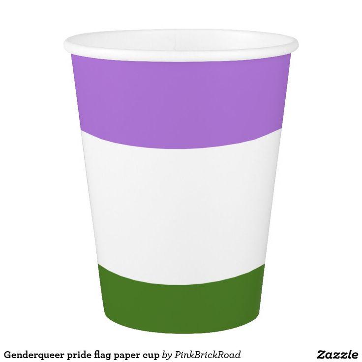 Genderqueer pride flag paper cup