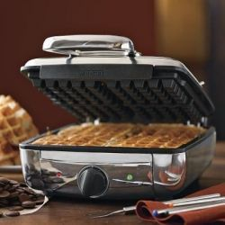I have been using the All Clad waffle maker for about 6 months now and I absolutely love it. The model we purchased was the 4 square Belgian waffle...