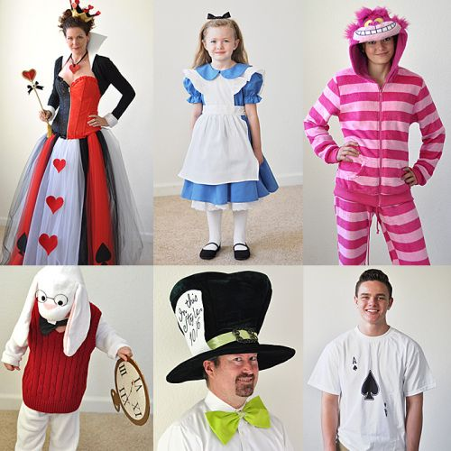 Alice In Wonderland costumes for the family (Alice, The Queen of Hearts, The Cheshire Cat, The White Rabbit, The Mad Hatter, and a Card Guard).